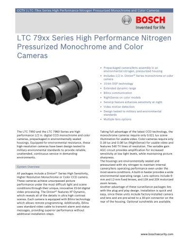 LTC 7950, LTC 7960 Series High Performance Nitrogen Pressurized Monochrome and Color Cameras