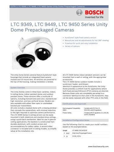 LTC 9349, LTC 9449, LTC 9450 Series Unity Dome Prepackaged Cameras