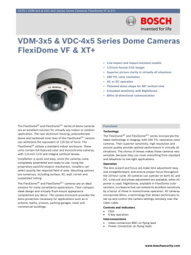 VDM-3x5 and VDC-4x5 Series Dome Cameras FlexiDome VF and XT+