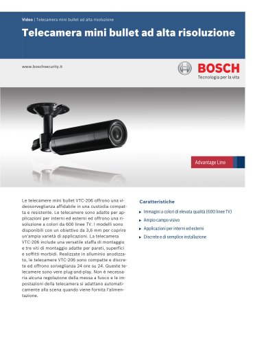 Video/Analog cameras:High Resolution Mini Bullet Camera