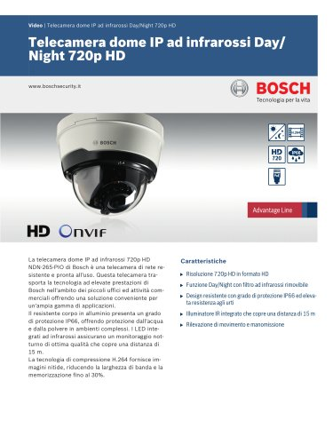 Vidéo/IP Cameras:Telecamera dome IP ad infrarossi Day/Night 720p HD