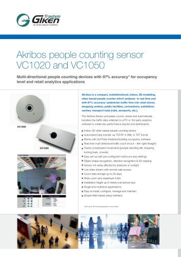 Akribos people counting sensor VC1020 and VC1050
