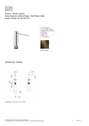 Soap dispenser without flange - Dark Brass matte