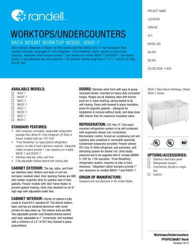 BACK MOUNT WORKTOP MODEL 9000-7
