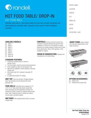 HOT FOOD TABLE/ DROP-IN