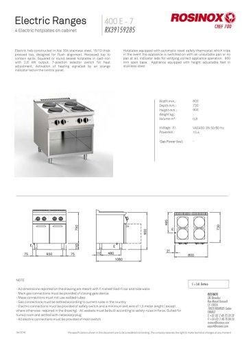 Electric Ranges 400 E - 7 RX39159211