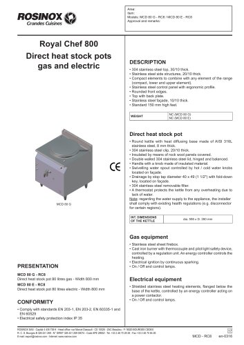 Royal Chef 800 Direct heat stock pots gas and electric