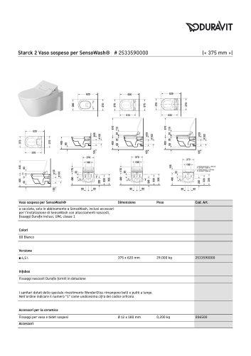 Starck 2 Toilet wall mounted for SensoWash®-it
