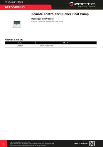Remote Control for Quebec Heat Pump