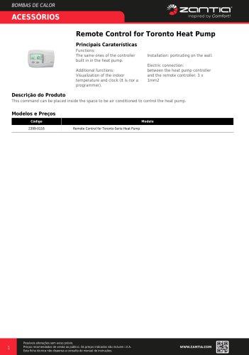 Remote Control for Toronto Heat Pump