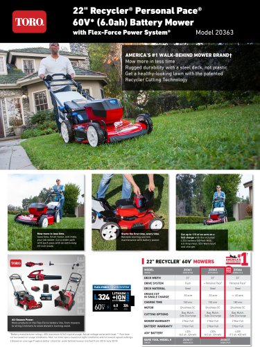 """22"""" Recycler® Personal Pace® 60V* (6.0ah) Battery Mower with Flex-Force Power System"""