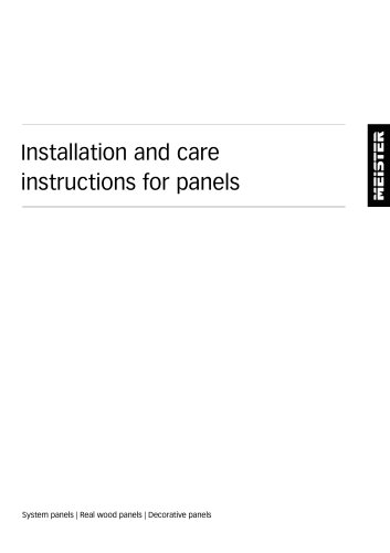 Installation and care instructions for panels