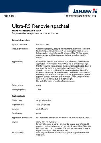 Ultra-RS Renovation filler
