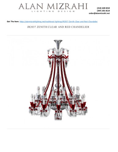 JR2037 ZENITH CLEAR AND RED CHANDELIER