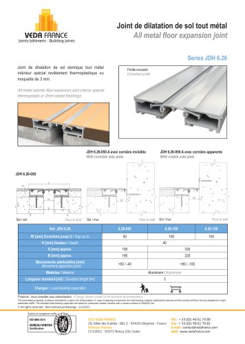 Seismic floor expansion joint - special flexible floors - JDH 6.26
