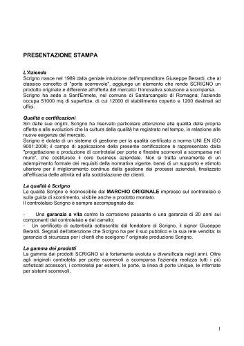 Cartella Stampa Scrigno S.p.A - IT