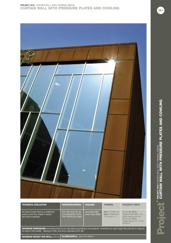 CURTAIN WALL WITH PRESSURE PLATES AND COWLING