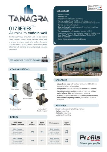 Curtain wall & Skylight Tanagra®