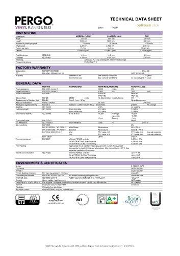 TECHNICAL DATA SHEET optimum click