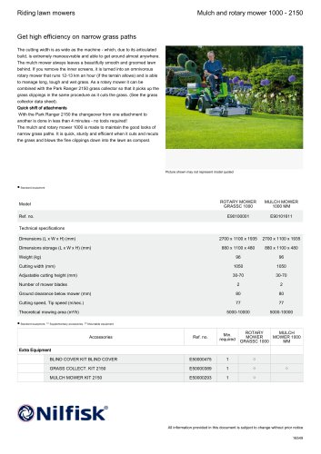 Mulch and rotary mower 1000 - 2150