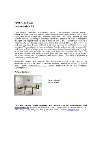 cubus table T1