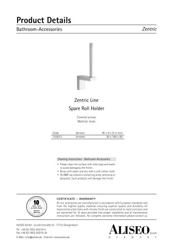 Zentric Line Spare Roll Holder 730012