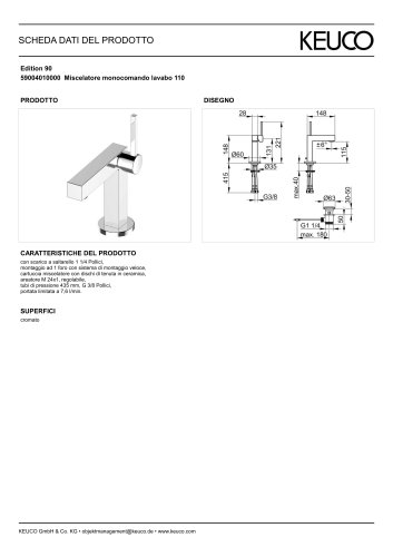 59004010000 Miscelatore monocomando lavabo 110