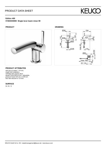 Edition 400 51504XX0000 Single lever basin mixer 80