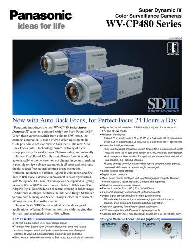 Super Dynamic III Color Surveillance Cameras WV-CP480 Series