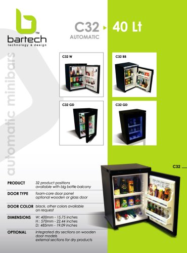 Bartech 40 Lt automatic minibar specifications