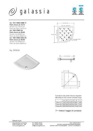 Corner shower tray 90x90 cm