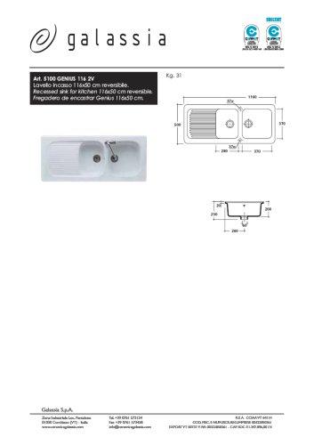 Recessed sink for kitchen Genius 116 cm
