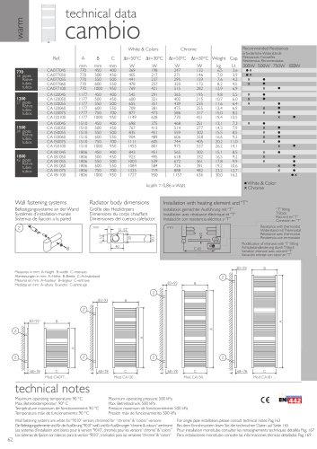 Cambio technical data