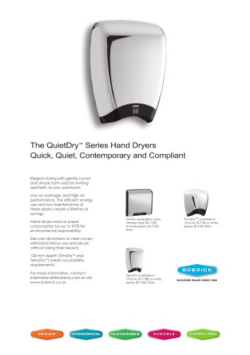 QuietDry® Series Sell Sheet for DuraDry™, TrimDry™ and TerraDry™