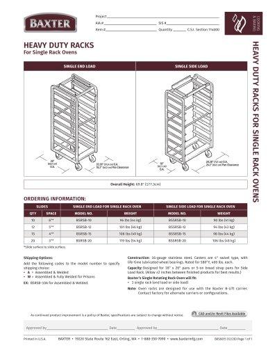 HEAVY DUTY RACKS For Single Rack Ovens