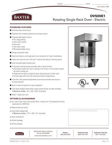 OV500E1 - Rotating Single Rack Oven - Electric