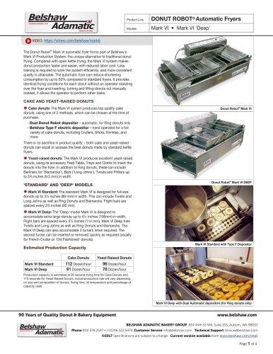 DONUT ROBOT® Automatic Fryers Mark VI • Mark VI 'Deep'
