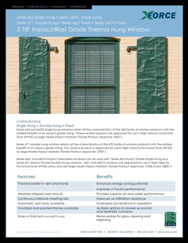 "3 7/8"" Impact/Blast Grade Thermal Hung Window"