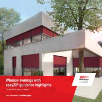 Window awnings with easyZIP guidance highlights