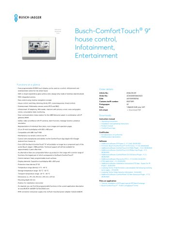 "Busch-ComfortTouch 9"" house control, Infotainment, Entertainment"