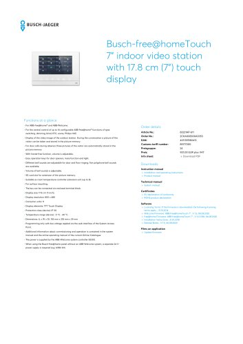 """Busch-free@homeTouch 7"""" indoor video station with 17.8 cm (7"""") touch display"""