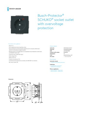 Busch-Protector SCHUKO socket outlet with overvoltage protection