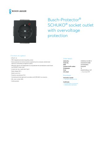 Busch-Protector SCHUKO socket outlet with overvoltage protection BLACK MATT