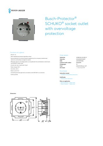 Busch-Protector SCHUKO socket outlet with overvoltage protection GREY METALLIC