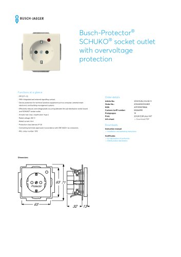 Busch-Protector SCHUKO socket outlet with overvoltage protection IVORY WHITE