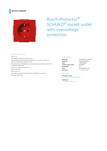 Busch-Protector SCHUKO socket outlet with overvoltage protection RED RAL 3020