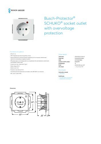 Busch-Protector SCHUKO socket outlet with overvoltage protection STUDIO WHITE