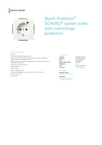 Busch-Protector SCHUKO socket outlet with overvoltage protection STUDIO WHITE, MATT