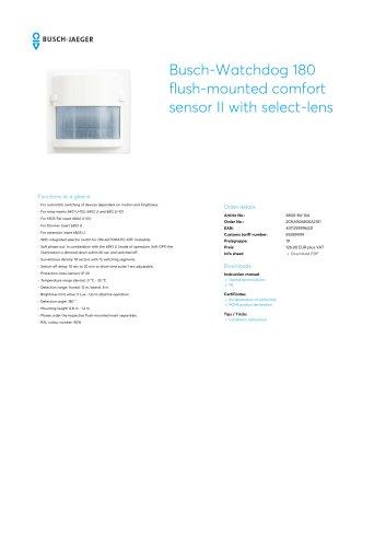 Busch-Watchdog 180 flush-mounted comfort sensor II with select-lens STUDIO WHITE