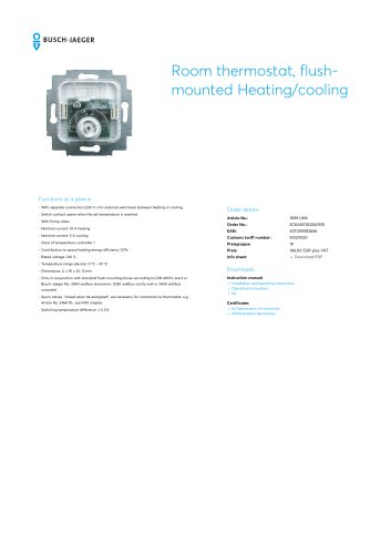 Room thermostat, flush- mounted Heating/cooling 1099 UHK